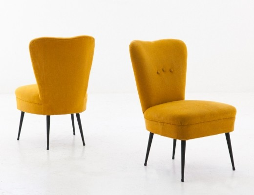Pair of senape yellow easy chairs, 1950s