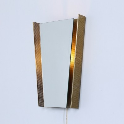 Brass perforated metal rectangular back light mirror