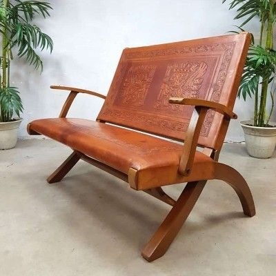 Rare vintage leather folding sofa from Ecuador by Angel Pazmino