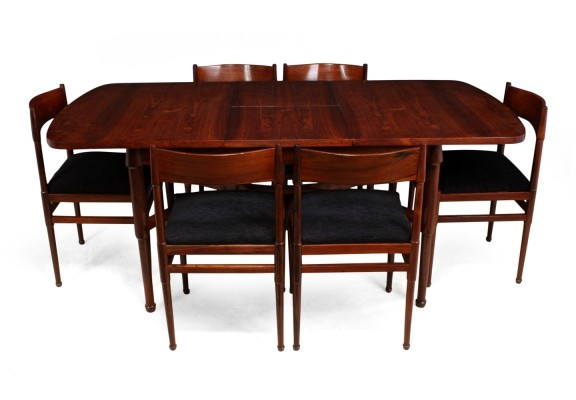 Mid Century Italian Dining Table & 6 chairs in Rosewood