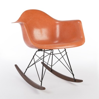 Original Herman Miller Orange Eames RAR Rocking Arm Shell Chair