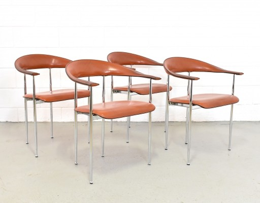 Set of 4 P70 dining chairs by G. Gualtierotti for Fasem, 1980s