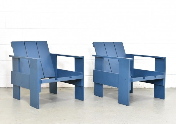 Set of 2 'Kratstoel' lounge chairs by Gerrit Rietveld for Cassina, 1980s