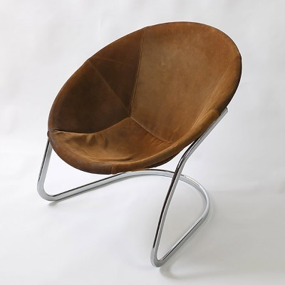 Lounge Chair from Lusch Germany 1960s in Suede