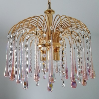 Gold plated chandelier by Paolo Venini with Murano glass teardrops