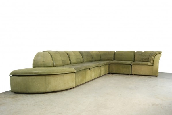 Rare mid-century modular nubuck leather sofa by Laauser, 1970s
