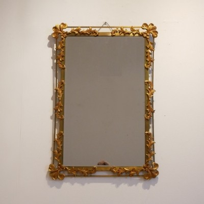 Vegetal Decor Gilded Metal Wall Mirror, 1950's
