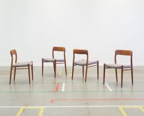 Set of 4 Model 75 dinner chairs by Niels O. Møller for JL Møller Møbelfabrik, 1960s