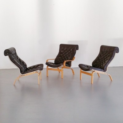 Set of 3 Swedish Leather Lounge Chairs by Noboru Nakamura for Ikea, 1970s