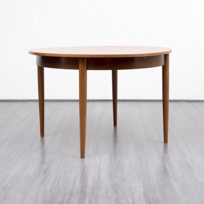 Round 1960s dining table in walnut