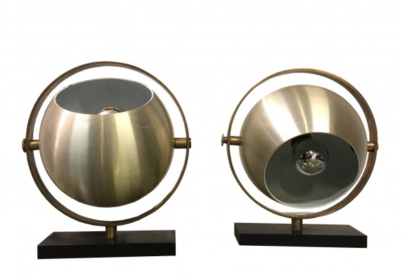 Pair of brass & aluminum table lamps by Stilux, Italy 1970s