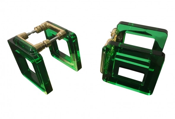 Pair of Vintage Murano Green Glass Handles, Italy 1970s