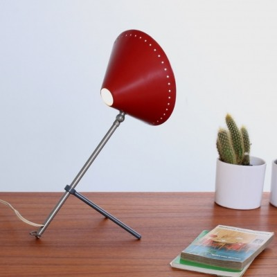 Red Pinocchio table light by H. Busquet for Hala Zeist