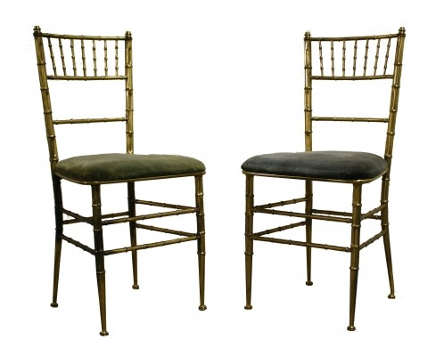 Pair of brass faux bamboo chairs, 1960s