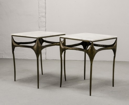 Pair of Italian Brutalist Bronzed Side Tables with Marble Top