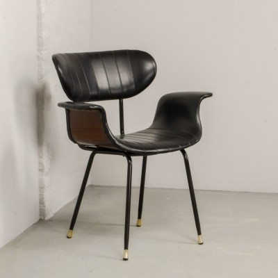 Mid-Century Rosewood & Black Leatherette Italian Swan Curved Side Chair, 1960s