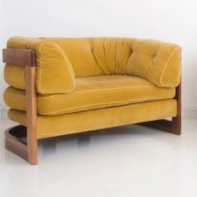 Lennart Bender Mustard Corduroy Armchair with Rosewood Frame