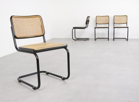 Set of 4 B32 'Cesca' dining chairs by Marcel Breuer for Thonet, 1980s