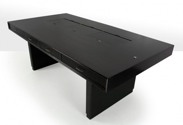 Large desk in black lacquered wood by Clausen & Maurus, Norway 1960s