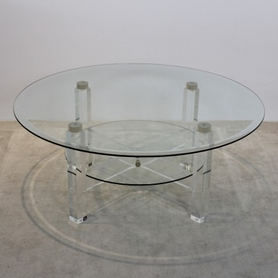Lucite, Brass & Glass Coffee table