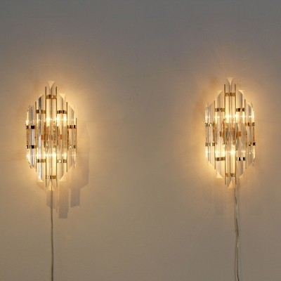 Pair of Italian Brass & Glass Sconces