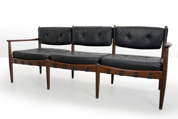 Three seater sofa in leather by Eric Merthen for IRE Mobler, 1960s Sweden