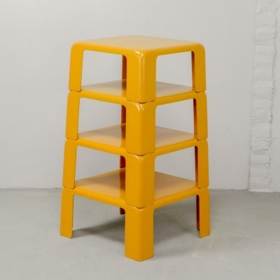Yellow Set of Quattro Gatti Side Tables by Mario Bellini for C&B Italia, 1960s