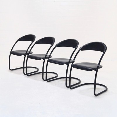 Set of 4 Italian Modern Tubular Dining Chairs, 1980s