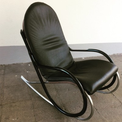 Black Leather 'Nonna' Rocking Chair by Paul Tuttle