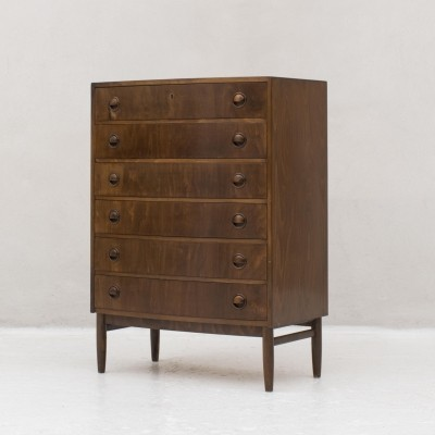 Dark beechwood chest of drawers with 6 drawers by Kai Kristiansen