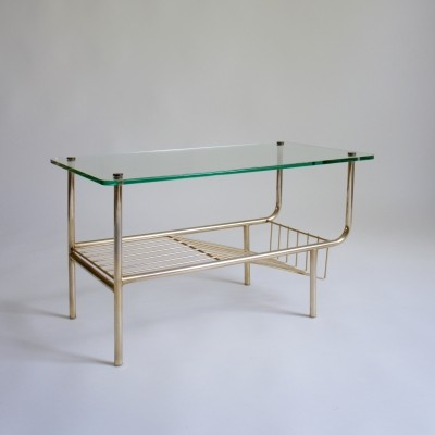 Glass Side Table with Magazine Rack
