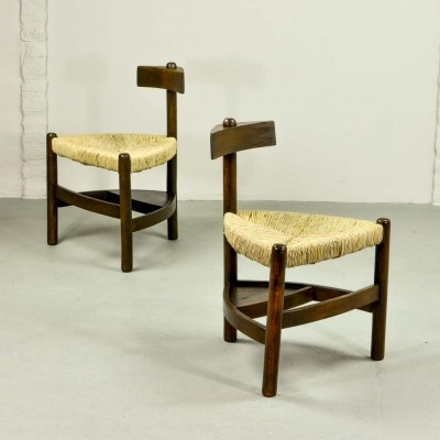 Rare Pair of Oak Tree & Rush Chairs, 1960s