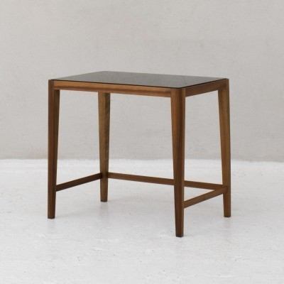 Teak side table with a rare smoked glass top