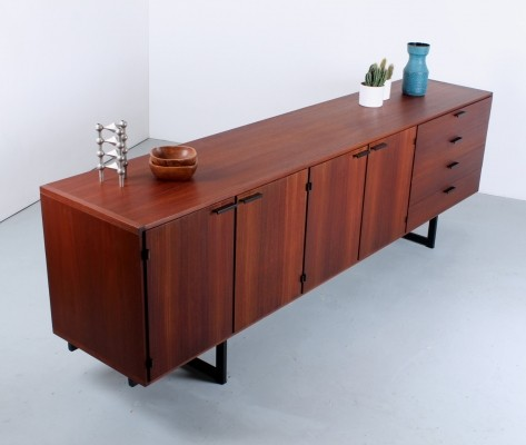 Large Pastoe teak veneer 'CR series' sideboard with black handles