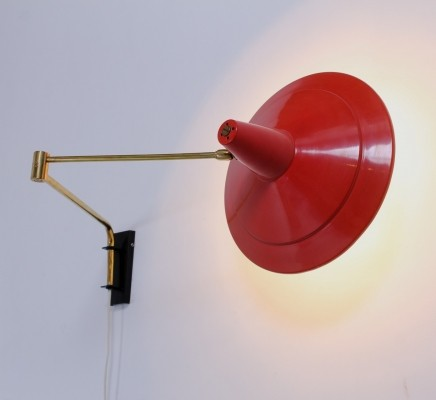 Red & brass vintage Dutch design adjustable wall light