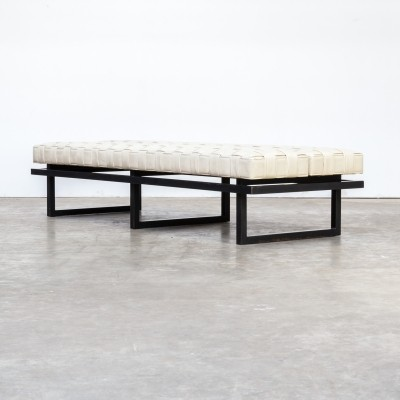 Leatherette & metal double sided seating bench, 1980s