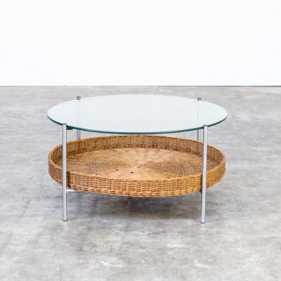 Round glass coffee table with wicker magazinebasket, 1960s