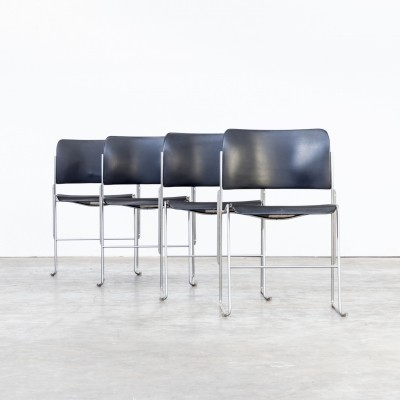 Set of 4 David Rowland 40/4 stacking chairs made of metal for OFS - Office Furniture Systems