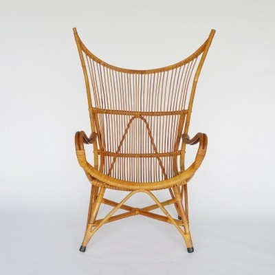 Wingback Rattan Lounge Chair, 1950s