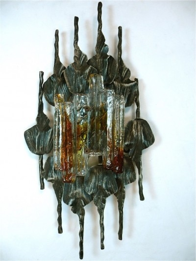 Brutalist Iron & Ice Murano Glass Wall Lamp / Sconce, 1960s