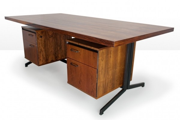 Large rosewood desk by Friso Kramer & Coen de Vries for Eeka, 1960s