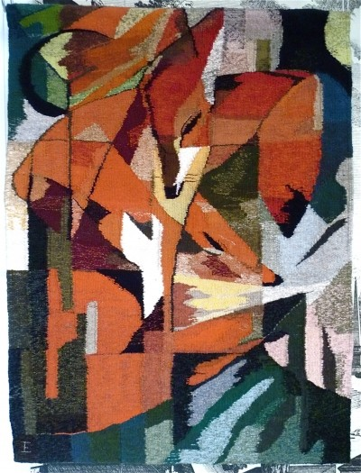 Mid-Century Hand-Woven Art Wall Rug Tapestry 'The Fox', 1960s