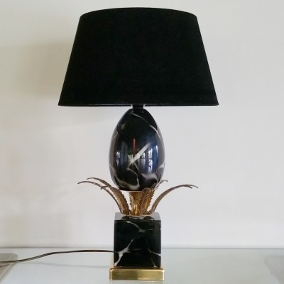 Hollywood Regency Ceramic Ostrich Egg Lamp, 1970s