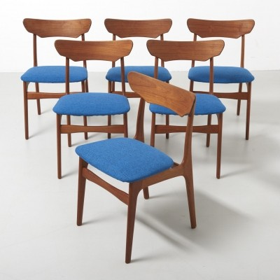6 dining chairs in teak by Schiønning & Elgaard, 1960s