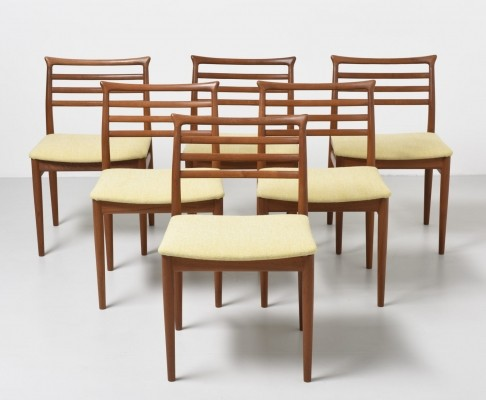 6 dining chairs in teak by Erling Torvits, 1960s