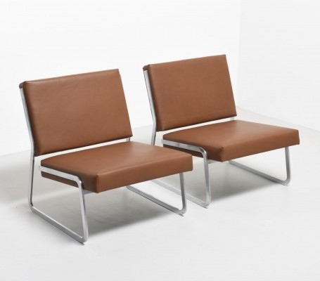 Pair of flat steel lounge chairs by Paul Sumi, 1960s