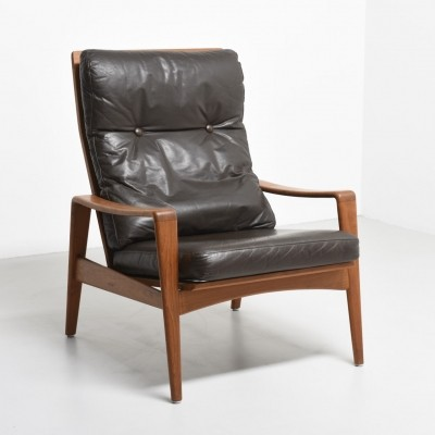 High back easy chair in teak by A.W. Iversen, 1960s