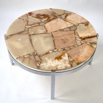 Round 60s Coffee Table in Marble & Chrome Metal