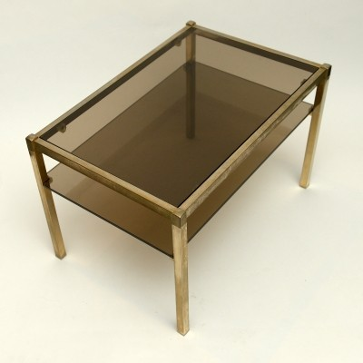 Vintage brass & smoked glass side tables or coffee tables