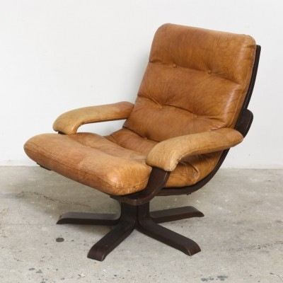 Set of three Nordic Cognac Leather Swivel Lounge Chairs, 1970s